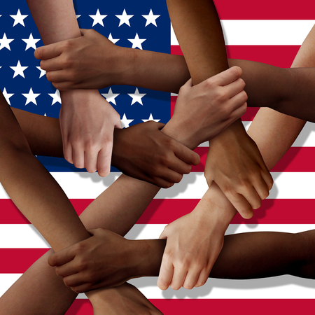 American diversity teamwork as a group of diverse United States people holding arms as a multiracial society and multicultural community joined and united as a strong together and togetherness concept.
