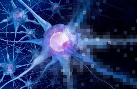 Digital neurology brain intelligence concept as artificial intelligence or virtual reality technology as a 3D rendering. Stock Photo