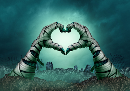 Mummy hand heart shape in a creepy night graveyard background as zombie halloween arms emerging from a cemetary grave or scary symbol in a 3D illustration style.