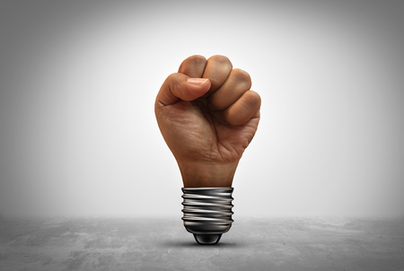 Power of idea concept as a human fist inside a light bulb socket with 3D illustration elements.