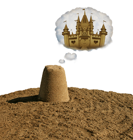 Dream big concept motivational idea or business development as a small sand pile dreaming to become a sand castle with 3D illustration elements.