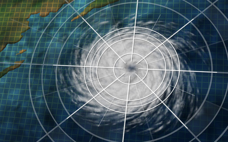 Hurricane graphic with digital monitoring analysis graph as a dangerous natural disaster weather system off an ocean coast in a 3D illustration style.