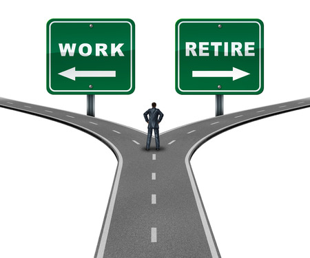 Work retire direction concept as a worker making a decision to continue working or retiring with 3D illustration elements. Stock Photo