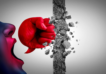 Breaking down walls with words as a powerful  message that breaks obstacles in a 3D illustration style. Stock Photo