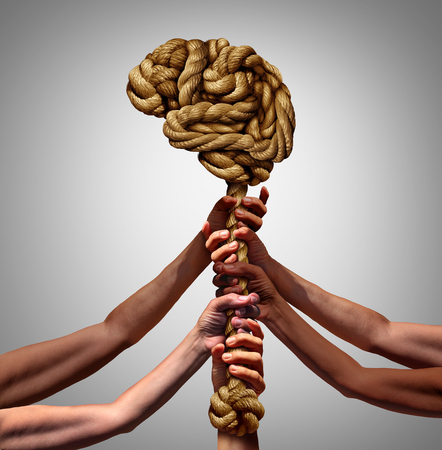 Psychology and society grpup mental health support concept as diverse people holdingsupporting a rope shaped as a thinking organ in a 3D illustration style. Stock Photo