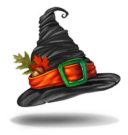 Witch hat halloween autumn clothing object as a spooky fall holiday seasonal and thanksgiving symbol with 3D elements. Stock Photo