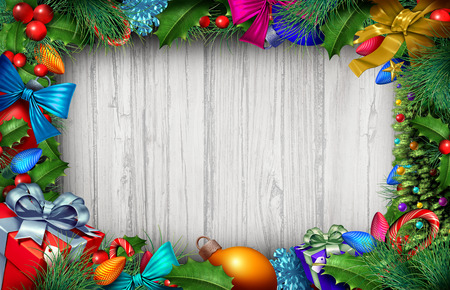 Christmas wooden background and winter holiday decoration with copyspace text area with 3D illustration elements.