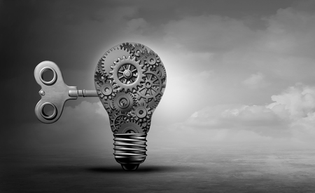 Machine concept light bulb as a gear solution with engineering and mechanical inspiration idea as a 3D illustration.