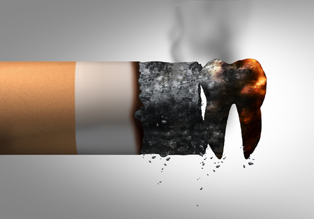 Smoking and dental health problem as a cigarette shaped as a tooth representing oral disease or cancer risk of a tobacco smoker as a 3D illustration. Foto de archivo - 108298578