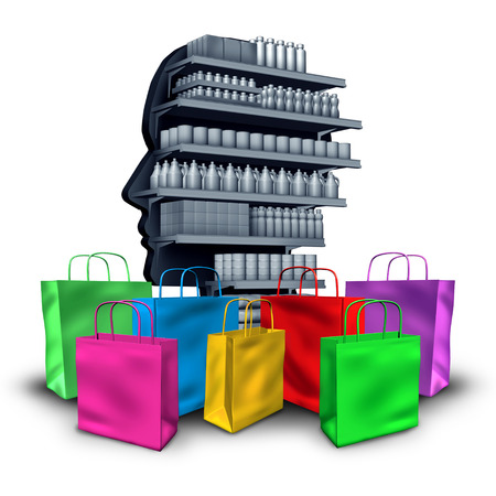 Spending concept consumerism and material possessions concept as the desire to buy and possess objects as a shopaholic idea of greed as a 3D illustration. Stock Photo