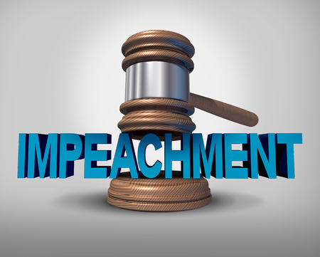 Impeachment law concept as a legal impeach metaphopr for political injustice in society as a judge gavel coming down on an impeachable offence on text as a 3D illustration.
