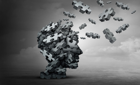 Parkinson disease and parkinsons disorder symptoms as a human head made of crumpled paper with a missing jigsaw puzzle representing elderly degenerative neurology illness in a 3D illustration.