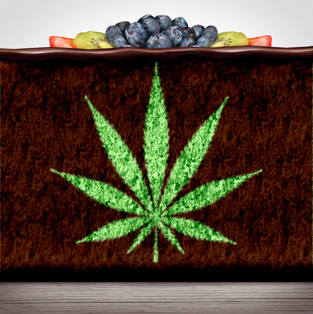 Cannabis edibles or marijuana edible brownie or cake snack with a leaf representing hemp baked good ,herbalfood infused with psychoactive medicinal ingredient in a 3D illustration style.