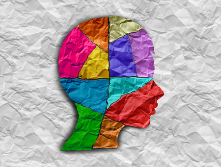 Child autism developmental disorder puzzle children symbol as an autistic child awareness icon as pieces of crumpled paper coming together to form a young student head in a 3D illustration style. Stock Illustration - 108618001