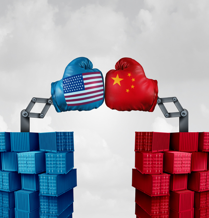 Trade war US China or American tariffs fight as two opposing cargo groups fighting as an economic  punitive taxation dispute over import and exports concept as a 3D illustration elements.