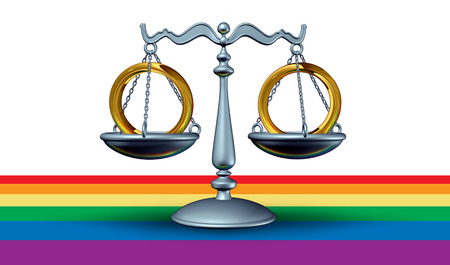 Gay marriage concept and homosexual same sex relationship union concept with two matrimony rings on a justice scale as a 3D illustration.