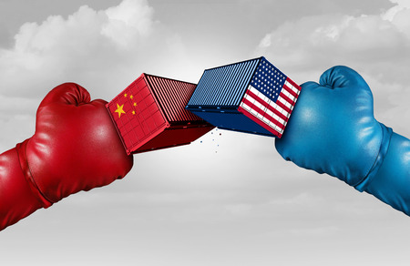 Trade war China US or United States economy and American tariffs conflict with two opposing trading partners as an economic import and exports dispute concept with 3D illustration elements