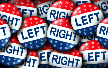 Left and right wing vote badges as a united states election  or American voting concept as a symbol with conservative and liberal political campaign or US politics for government legislators and representatives as a 3D render. Stock Photo