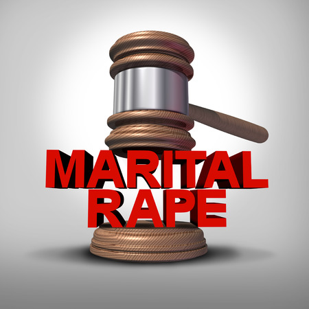 Marital rape and domestic violence in a marriage as a law symbol for criminal spousal abuse as a 3D illustration. Stock Photo
