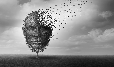 Mental health and personal crisis idea as a tree shaped as a face losing leaves as an anxiety and human stress symbol with 3D illustration elements. Stock Photo