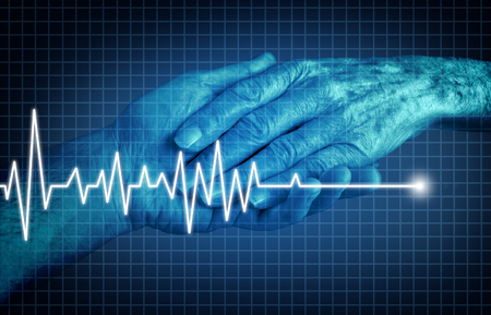 Euthanasia terminally ill patient ending of life concept as a medical Intervention to end pain and suffering as a health care symbol as the hand of an elderly person with an ecg or ekg flatline on a monitor graph in a 3D illustration style. Stock Illustration - 109067409