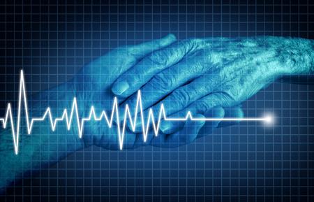 Euthanasie terminaal zieke patiënt levensbeëindiging concept als een medische interventie om pijn en lijden te beëindigen als een gezondheidszorgsymbool als de hand van een oudere persoon met een ecg- of ekg-flatline op een monitorgrafiek in een 3D-illustratiestijl. Stockfoto