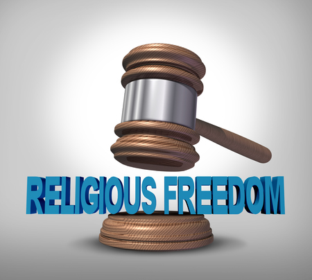 Religious freedom legal protection of religion and law advice concept as a gavel or judge mallet from completing a verdict or government legislation to protect the beliefs of faith based institutions or individual worship rights as a 3D render. 写真素材