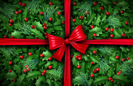 Classic winter holiday decoration as a wrapped gift with pine and holly leaves as a red Christmas present gift as a festive 3D render. Stock Photo
