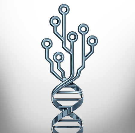 Digital DNA innovation symbol as genetics testing and medicine technology or biotechnology research or as a genome symbol with a computer circuit as a 3D illustration. Archivio Fotografico