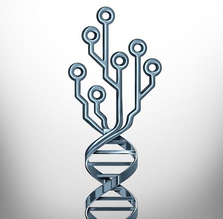 símbolo de la innovación digital del adn como pruebas de genética y tecnología de la medicina o la investigación genética o como un símbolo científico con un casco portátil como una ilustración 3d .