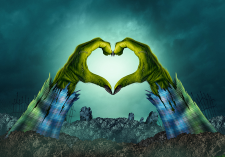 Zombie monster hand heart background in a creepy night graveyard as halloween green arms emerging from a cemetary grave with 3D illustration elements.