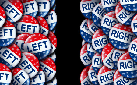 American voting concept as a symbol with conservative and liberal political campaign