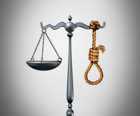 Capital punishment and death penalty as a criminal killed by the government for the crime of murder