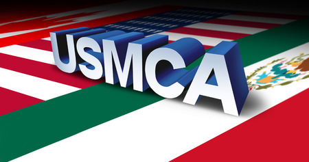 USMCA or the new NAFTA United States Mexico Canada agreement symbol with north america flags as a trade deal negotiation and economic deal fot the American Mexican and Canadian governments as a 3D illustration. Stock Photo