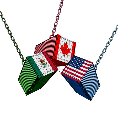 United States Mexico Canada trade agreement as the USMCA with cargo shipping containers joining together as an economic import and export deal as a 3D illustration.