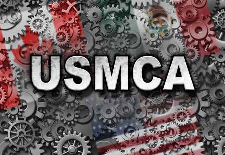 USMCA business or the new NAFTA deal as the United States Mexico Canada agreement symbol with north america flags as a trade negotiation and economic unity fot the American Mexican and Canadian governments as a 3D illustration.