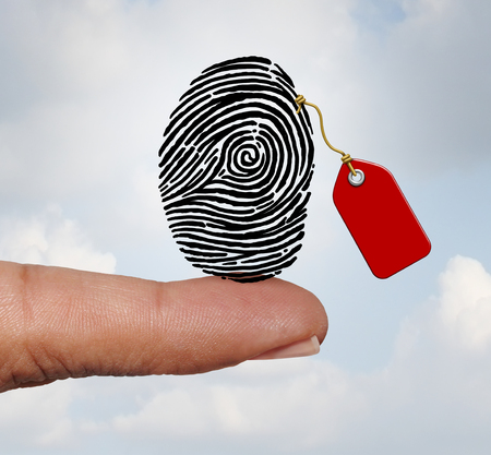 Selling private information and social media personal data market concept as a finger holding a fingerprint with a price tag as an internet business with 3D illustration elements. Stock Photo