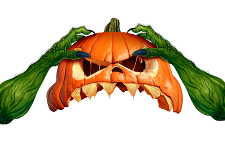 Creepy monster halloween pumpkin green hand holding a scary pumpkin head jack o lantern that is as an autumn symbol for horror and seasonal ritual on a white background in a 3D illustration style.. Stock Photo