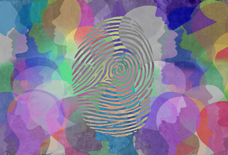 Social identity abstract diversity design as a fingerprint and population symbol for personal identification and security in a 3D illustration style. Imagens