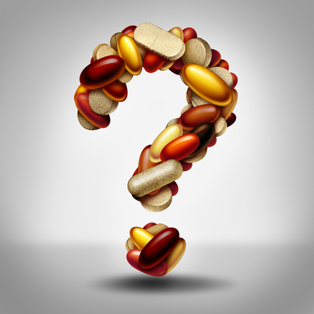 Health supplements as a group of vitamin and supplement pills and capsules shaped as a question mark as a natural nutrient medicine and health safety or uncertainty of  a nutritional aid as a 3D illustration. Stock Photo