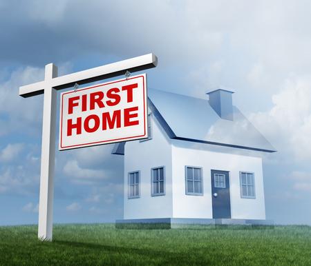 Erstes konzeptionelles Bild des Kaufs eines Familienhauses als Immobilieninvestitionskonzept Standard-Bild