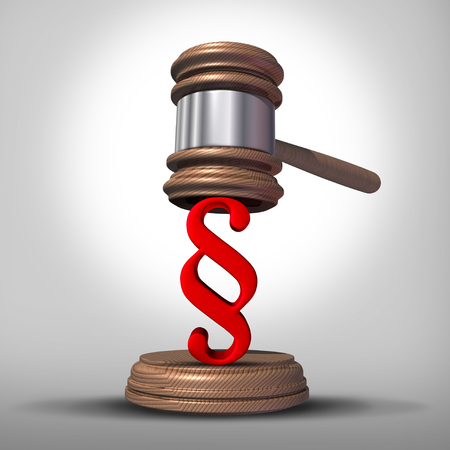 Law paragraph sign legal symbol as a judge gavel or justice mallet with an arbitration or legislation icon as a 3D render.