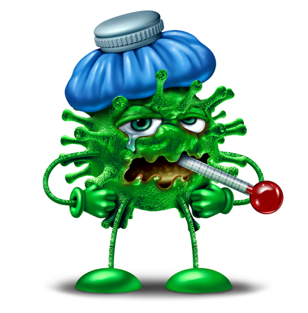 Winter flu character as an influenza or virus infection symbol as a sick feverish cartoon pathogen cell with an ice bag and thermometer as a 3D render concept.