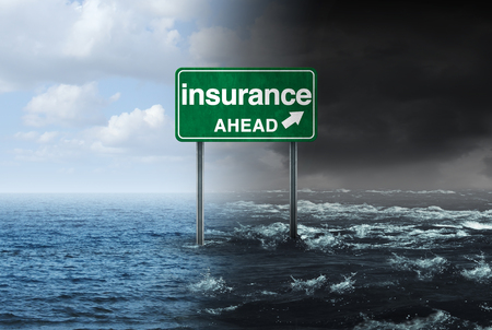 Insurance concept and hurricane or storm property damage financial risk idea and homeowners insured  for natural disater loss with 3D illustration elements. Stock Photo