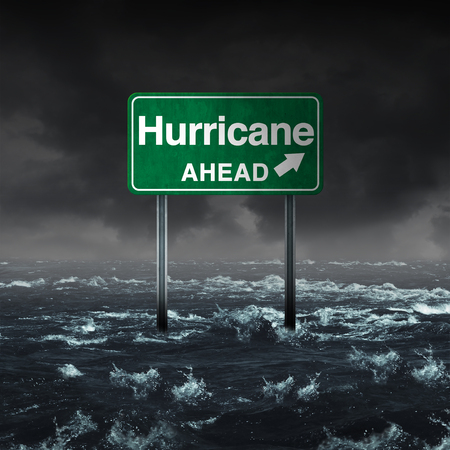 Hurricane ahead and a flooded tropical storm warning sign as a meteorolgy forecasting natural disaster flood and strong gusts of wind danger with 3D illustration elements. Stock Photo