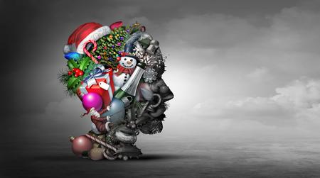 Concept de psychologie ou de psychiatrie de la dépression des vacances d'hiver représentant l'idée de se sentir déprimé pendant la saison de Noël et de la nouvelle oreille avec des éléments d'illustration 3D.