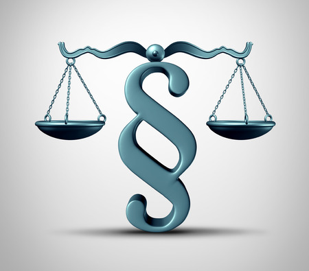 Paragraph sign legal symbol as a law scale balance with an arbitration or legislation icon as a 3D render.