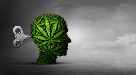 Cannabis and mental function with the use of marijuana as a psychiatric or psychiatry concept of the effects on the brain with recreational or medicinal weed with 3D illustration elements. Banque d'images