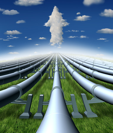Pipeline business and gas or shipping oil industry success as pipes leading to a cloud arrow with 3D illustration elements.