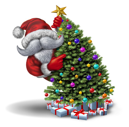 Funny Santa decorating Christmas tree as a winter holiday greeting or poster icon on a white background with 3D illustration elements.